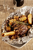 Kleftiko (Lamb shank cooked in foil with potatoes, Greece)