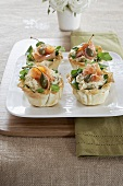 Artichoke cream and smoked salmon in filo pastry shells