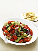 Vegetable salad made with roasted summer vegetables