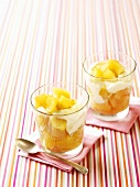 Apple and pear compote with honey and yoghurt