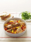 Braised chicken with peppers