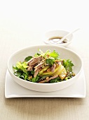 Salad leaves with nashi pear and duck