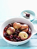 Poached cherries and nectarines