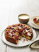 Rhubarb cake with hazelnuts