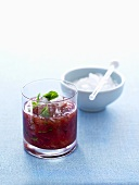 Mint Julep with blood plums and crushed ice