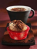 Gingerbread muffin and cappuccino