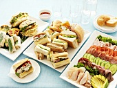 Cold platter and assorted sandwiches