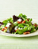 Warm salad of broad beans, pancetta & feta with lemon & herb dressing