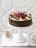 Black Forest gateau on cake stand