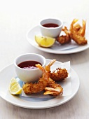 Prawns in coconut coating with chilli dip