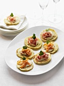 Herb blinis with smoked salmon or prosciutto