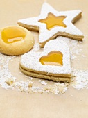 Jam biscuits dusted with icing sugar