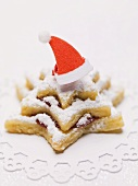 Star biscuit with Santa hat