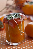 Japanese persimmon chutney in a jar