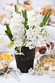 Vase of hyacinths and pear blossom on laid table