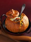 Pumpkin stuffed with minced lamb