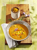 Apple and carrot soup with chives
