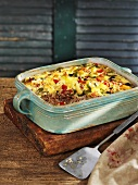 Mince and apple bake in baking dish