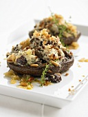 Large mushrooms with goat's cheese & pine nut stuffing & gratin topping