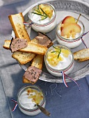 Goat's cheese cream with apple compote and toast with liver pâté