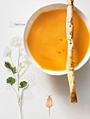 Sweet potato soup with aniseed & ricotta straws