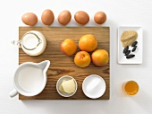 Ingredients for tonka bean crème brûlée with glazed apricots