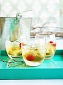 Manhattan cocktails with cherries