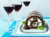 Chocolate-blueberry roll