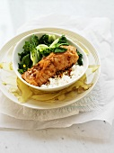 Grilled salmon with bok choy and rice
