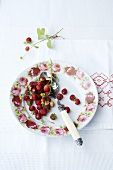 Woodland strawberries on a floral plate