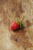 A woodland strawberry on a wooden surface