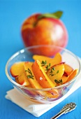 Nectarine slices in glass dish