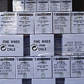 Wines from Chile in cardboard boxes for shipment