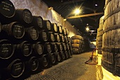 Port wine barrels in cellar of Ferreira Porto, Portugal