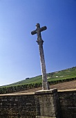 A cross at the Romanée-Conti vineyard, Vosne-Romanée, Côte d'Or