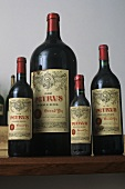 Four bottles of Château Pétrus (luxury wine), France