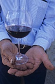 Man holding glass of Brunello di Montalcino, Italy