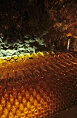 Several bottles of Tokaj wine in wine cellar, Tokaj, Hungary