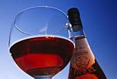 Eine Flasche und ein Glas of Tavel Rosé, Gard, Frankreich
