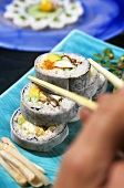 Futomaki (Sushi rolls filled with crabmeat & avocado, Japan)