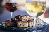 Bacon bread with wine, Lavaux, Vaud, Switzerland