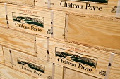 Wooden crates of Pavie 2005, Château Pavie, St-Émilion, France