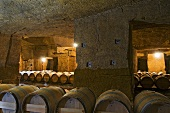 Chais aus dem Kalkstein gehauen, Chateau Ausone, St-Emilion, Frankreich