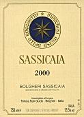 Sassicaia 2000 wine label, Tenuta San Guido, Bolgheri, Tuscany, Italy