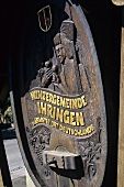 Carving at entrance to wine-producing community of Ihringen, DE