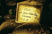 Old bocksbeutel bottles, Julius-Echter Berg Silvaner, Franconia, Germany