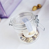 A jar of snail shells and eggs