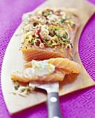 Salmon with Asian marinade and yoghurt & wasabi dip