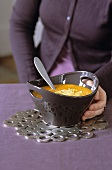 Cream of pumpkin soup with grated Comté cheese