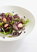 Pigeon breast and quail's egg salad